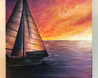 """Sailing off into the Sunset -11""""x14"""" Canvas Oil Painting by Michelle Hollinger"""