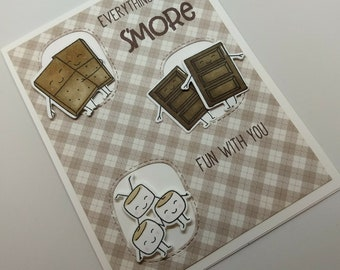 S'mores Card - Handmade Smores Friend Love Card - Everything is S'more Fun with You - S'mores Lover Card - Chocolate Card - Friendship Card