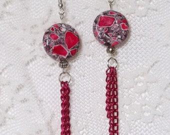 Coral Marble Earrings