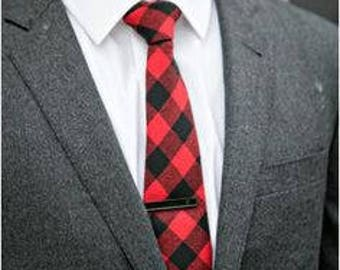 Boys Necktie Red and Black Buffalo Plaid Tie, Baby, Toddler, Boy, Teen