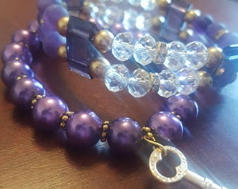 Purple and Gold Beaded Bracelet Set/ Purple Bracelets/ Purple Bracelet Stack/ Gold Charm Bracelet/ Set of Two (2)