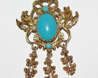 Vintage 1960's Gold Tone Baroque Brooch with Faux Turquoise and Pearl  stones