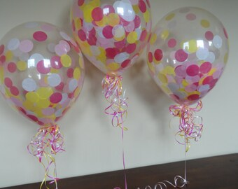 """3, 6, or 10 Count Large 16"""" Confetti Balloons with Hot Pink, Pink, Yellow, & White Confetti- Wedding, Shower, Princess, Disney, Baby, Minnie"""