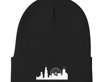 Chicago Skyline Sears Willis Tower Navy Pier Lake Michigan Embroidered Knit Beanie Hat Creative Gift for Chicago Lover