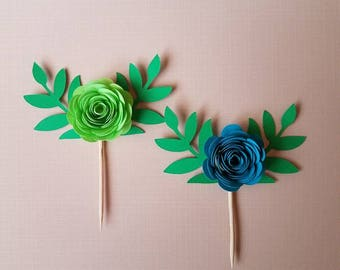Set of 10 Mixed Paper Flower Cupcake Topper w/Leaves, Cake Topper, 3D Paper Flower
