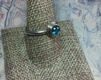Blue Topaz ring, Artisan ring, Sterling Silver ring