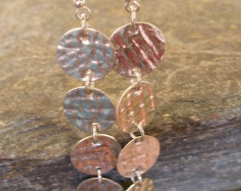 Textured Sterling Silver Coin Circle Earrings, or in 9ct Gold. Long, Dangle Earrings. Choose Length. A lovely gift for her or treat yourself