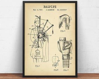Bagpipe Patent Print, Digital Download, Scottish Decor, Music Wall Art, Music Teacher Gift, Music Room Poster Prints, Bagpiper Blueprint