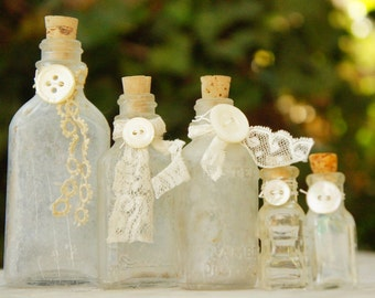 Vintage Upcycled Shabby Chic Bottles/ Instant Collection/ Wedding Decor/Farmhouse