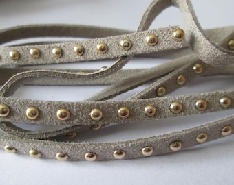 taupe suede cord 1 m 5 mm Golden rivets