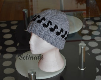 Knit Music Notes Grey Hat Beanie