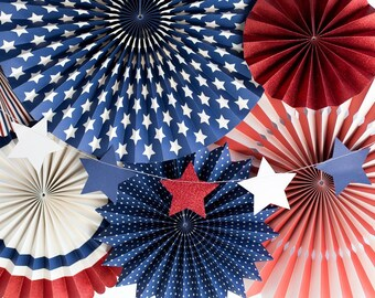Red White and Blue Stars Banner - Patriotic banner -  Red White and Blue -  Patriotic Garland - Fourth of July Garland - 4th of July Banner