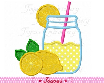 Instant Download Lemonade Jar Applique Machine Embroidery Design NO:2089