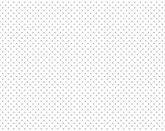 Gray Polka Dot Fabric - Riley Blake Swiss Dots Gray - Gray Dot Fabric - White Quilting Fabric By The 1/2 Yard