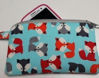 Fox Zipper Pouch, Fox Coin Purse, Fox Phone Case, Fox Credit Card Holder, Fox Phone Holder, Fox Clip Pouch, Small Fox Pouch, Nylon Liner.