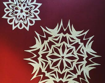 Handcut Paper Snowflakes, 10 Count - Variety Pack. Window decoration, photo booth prop,  Christmas, wycinanki