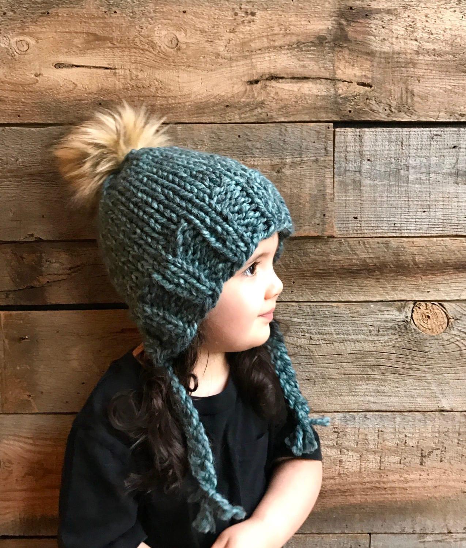 Kids Beanie Knitting Pattern Earflap Hat Pattern Kids Hat