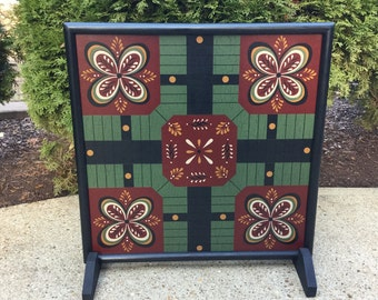 Parcheesi, Game Board, Wood, Primitive, Folk Art, Game Boards, Wooden, 4 Player, Family Fun, Board Game, Game, Pawns