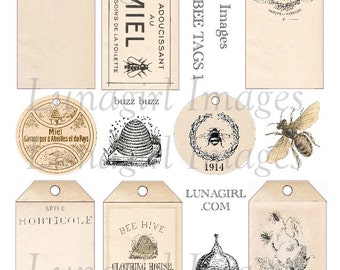 HONEY BEES TAGS digital collage sheet, French labels bugs beehive antique ephemera Victorian art supplies shabby vintage printables Download