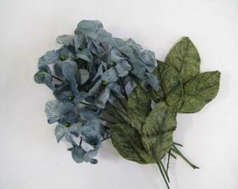 Velvet hydrangea flowers vintage blue, vintage look for millenery, scrapbooking, bridal bouquets