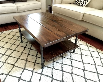 Steel and Pine Wood Coffee Table with Shelf Style 2