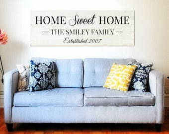 Home sweet home established sign | How Sweet Home Reclaimed Wood | Large Wall Decor | Custom sign for home | Est year sign | Family name