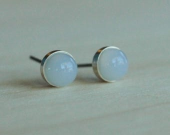 Blue Chalcedony Gemstone 6mm Bezel Set on Niobium or Titanium Posts (Hypoallergenic Stud Earrings for Sensitive Ears)