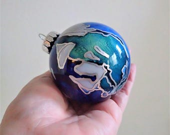 Glass Ornament - Hand Painted Contemporary Holiday Decoration