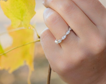 Art Deco Wedding Band, Half Eternity Ring, Wedding Ring, Milgrain Ring, Marquise Ring, Diamond Simulants, Sterling Silver