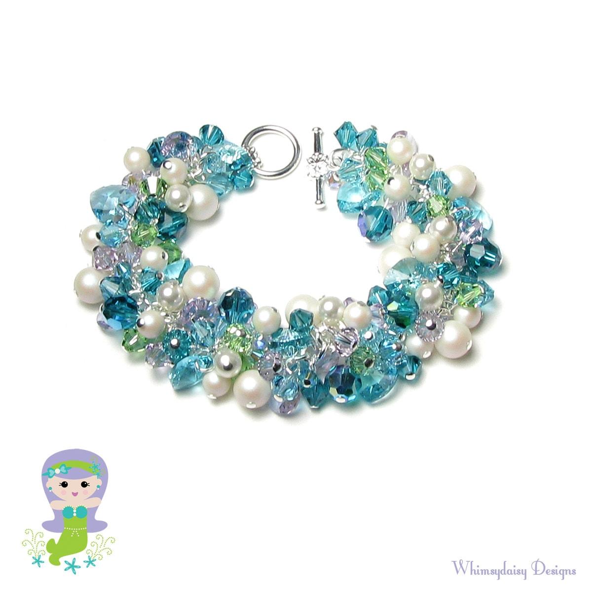Mermaid Bracelet Swarovski Crystal White Pearl Cluster Teal