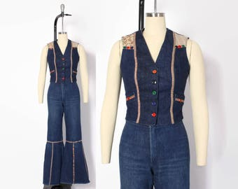 Vintage 70s DENIM 2pc SET / 1970s Hippie Bell Bottom Flared Pants & Fitted Vest SUIT Xs - S