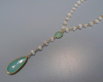 Gemstone Lariat Necklace, Seafoam Chalcedony Necklace, Moonstone Necklace, Moonstone Y Necklace, Moonstone Rosary Necklace, Gold Y Necklace