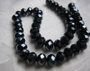 """Black Rondelles. 3 Sizes! 6x4mm-100pc, 4x3mm-150pc, 3X2mm-200pc. Starlight Sparkling Jet Black Faceted Glass Beads. 17-18"""" Strand.USPS Rates"""