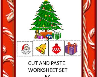 Christmas Fun Cut and Paste Worksheets, P-K, K, Special Education, Autism