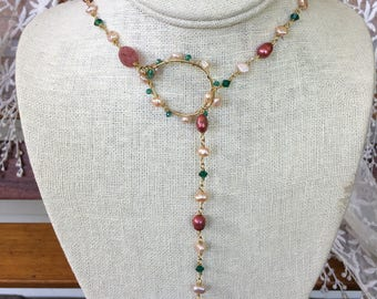Beadwork long lariat pearls and crystal necklace