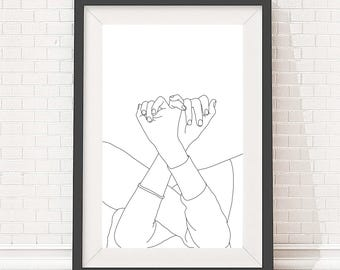 Artwork download - A4 and A3 size - Minimal one line linked fingers - Digital file - Black and white line art - Minimalist hands