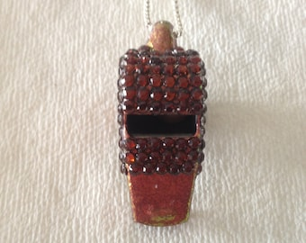 Cola-Colored Rhinestone Covered Whistle (3mm rhinestones)