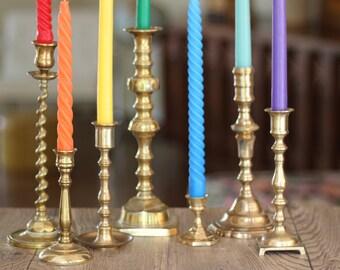 Set of Seven Assorted Vintage Brass Candlestick Holders / Mismatched Brass / Wedding Decor / Set of Brass Candlestick Holders