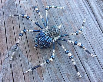 Asher - beaded spider Halloween Christmas gunmetal and silver glass goth sun catcher - Halloween decoration - Christmas ornament