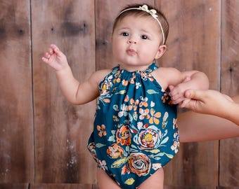 Boho Floral Bubble Romper, Baby Romper,Fall, Bohemian, Photo Shoot, Girls, Newborn, Baby Clothes, Clothing
