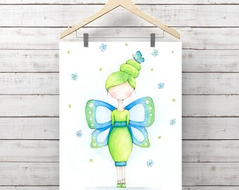 Butterfly Girl Watercolor Print - Little Girl Art - Blue & Green Giclee Print - Original Painting by Angela Weber