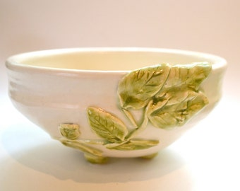 White Bowl Wrapped in Leaves