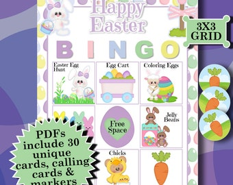 EASTER 3x3 Bingo printable PDFs contain everything you need to play Bingo.