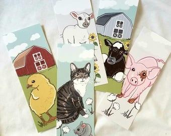Farmhouse Bookmarks - Eco-friendly Set of 5