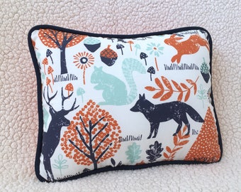 Organic Orange and Navy Woodland Animals NURSERY ACCENT PILLOW / Woodland Animals Decorative Pillow -- Choose from Rectangle and Square