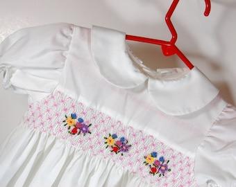 Smocking Girls Dress- Sunday best white with flowers