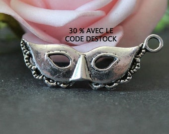 x 10 charms mask Wolf 31 x 12 mm BRA104 antique silver metal