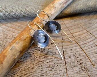 Minimalist Moonstone Earrings - Sterling Silver Gemstone Earrings - Rustic Earrings - Oxidized Silver Jewelry - Moonstone Jewelry - Handmade