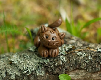 Cat Sculpture, Polymer Clay Cat, Handmade Pet Figurines