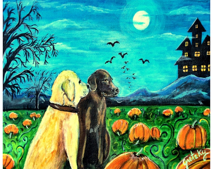Halloween Dogs in pumpkin Patch Print